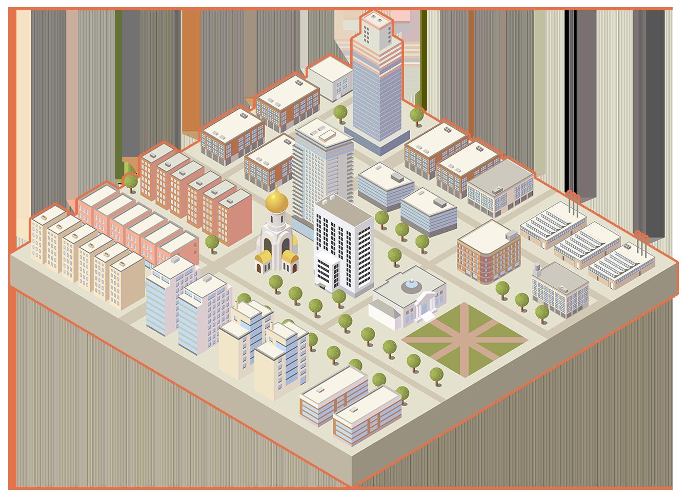 Цветное изображение города
